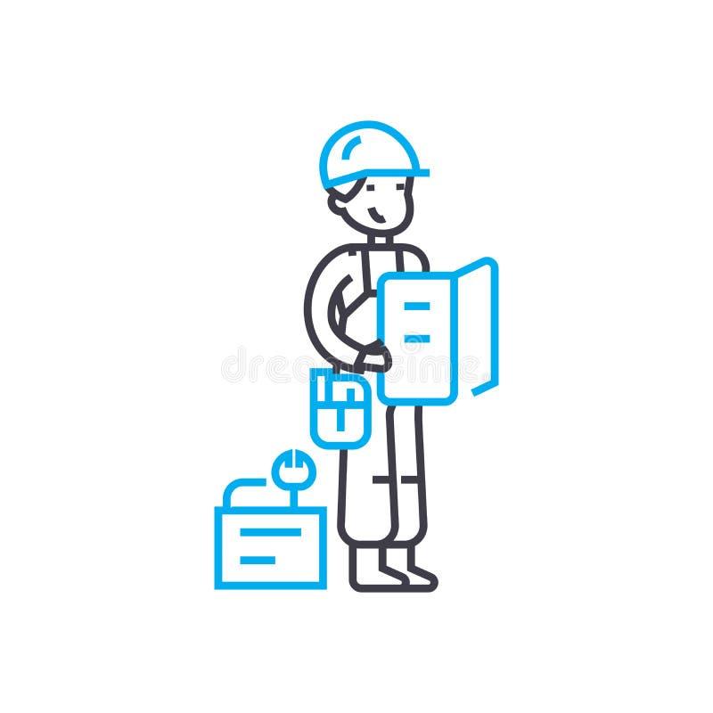 Μέτρηση του διανυσματικού λεπτού εικονιδίου κτυπήματος γραμμών ατόμων εργασίας Μέτρηση της απεικόνισης περιλήψεων ατόμων εργασίας ελεύθερη απεικόνιση δικαιώματος
