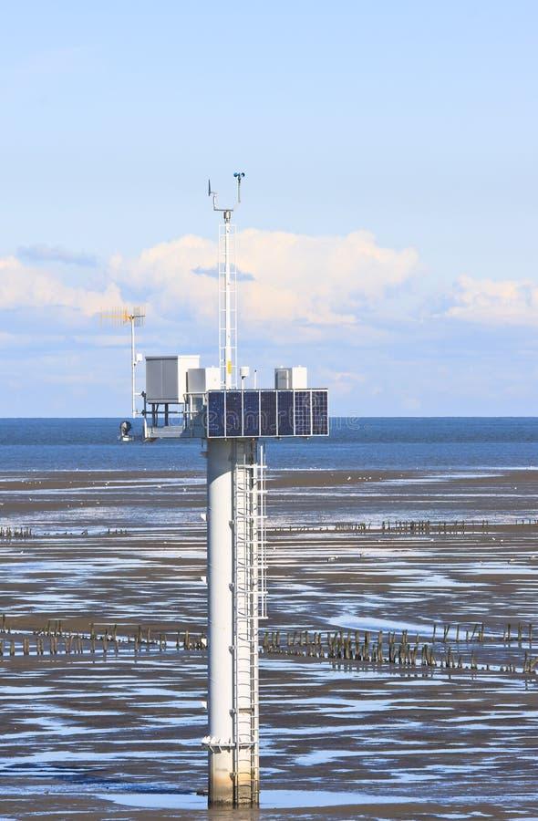 Μέτρηση του πόλου, ολλανδικό Waddenzee κοντά σε Noordkaap στοκ εικόνες