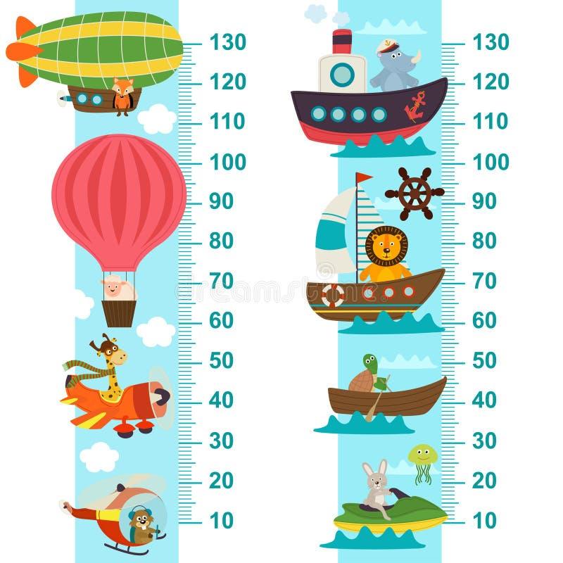 Μέτρο ύψους θαλασσίων και εναέριων μεταφορών ελεύθερη απεικόνιση δικαιώματος