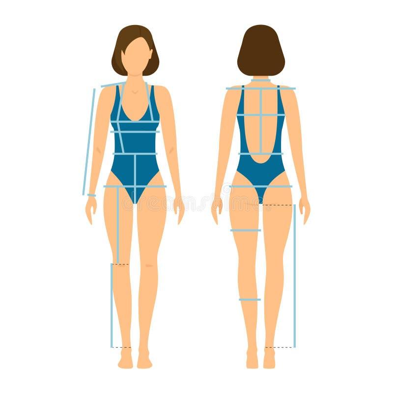Μέτωπο και πλάτη σώματος γυναικών για τη μέτρηση διάνυσμα διανυσματική απεικόνιση
