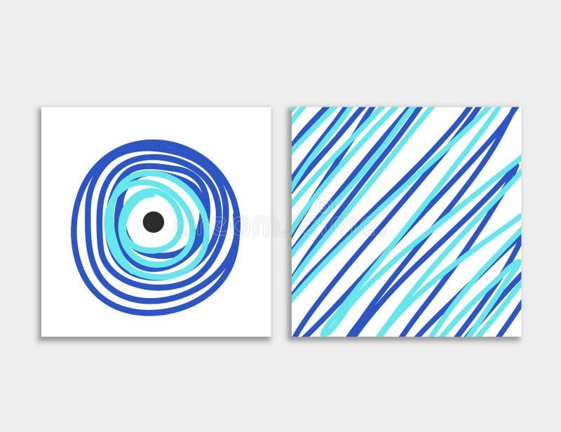 Μέτωπο καρτών και πίσω με το μπλε κακό διάνυσμα ματιών ελεύθερη απεικόνιση δικαιώματος