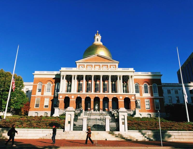 Μέτωπο κρατικών σπιτιών της Μασαχουσέτης εξωτερικό στη Βοστώνη στοκ εικόνες