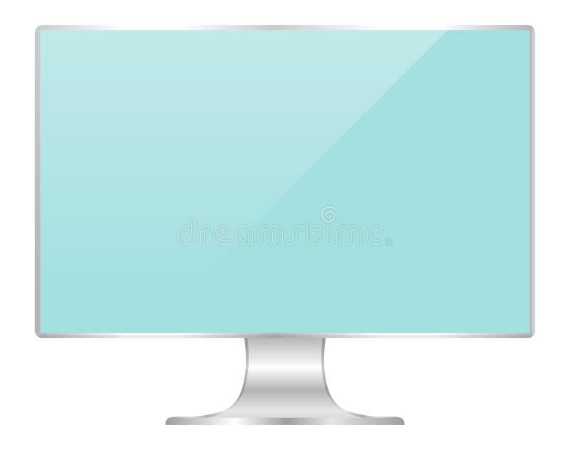 Μέτωπο του επίπεδου υπολογιστή οθόνης οργάνων ελέγχου ανοικτό μπλε, ψ διανυσματική απεικόνιση