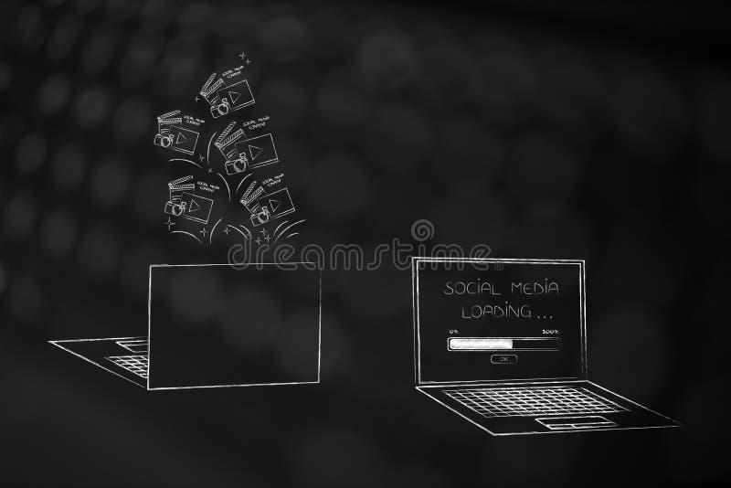 Μέτωπο lap-top και πίσω με τα ψηφιακά ικανοποιημένα εικονίδια που σκάουν από του και μηνυμάτων το κοινωνικό MEDIA που φορτώνει στ διανυσματική απεικόνιση