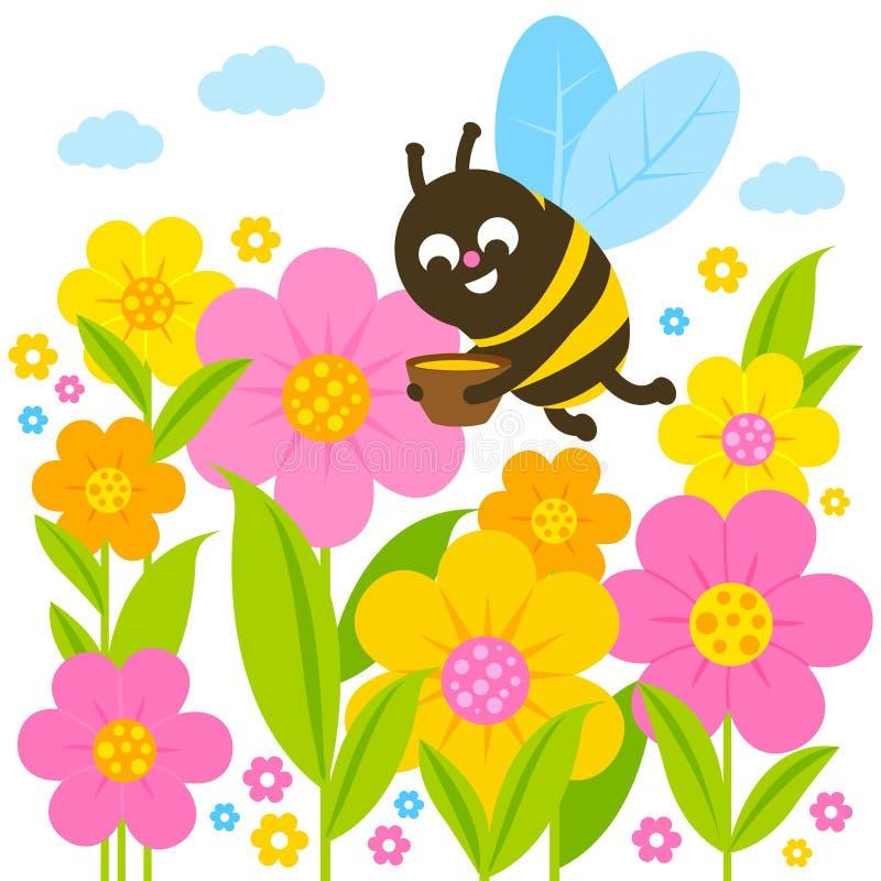 Μέλισσα και λουλούδια Χρωματίζοντας σελίδα βιβλίων ελεύθερη απεικόνιση δικαιώματος