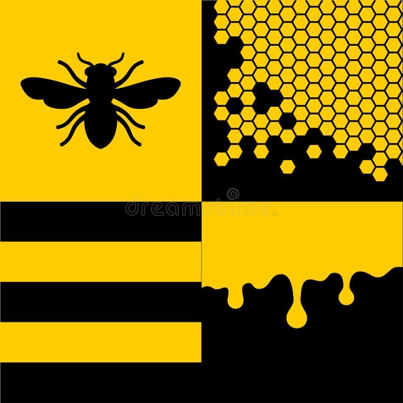 Μέλισσα Honeycells και σχέδια μελιού καθορισμένα διάνυσμα απεικόνιση αποθεμάτων