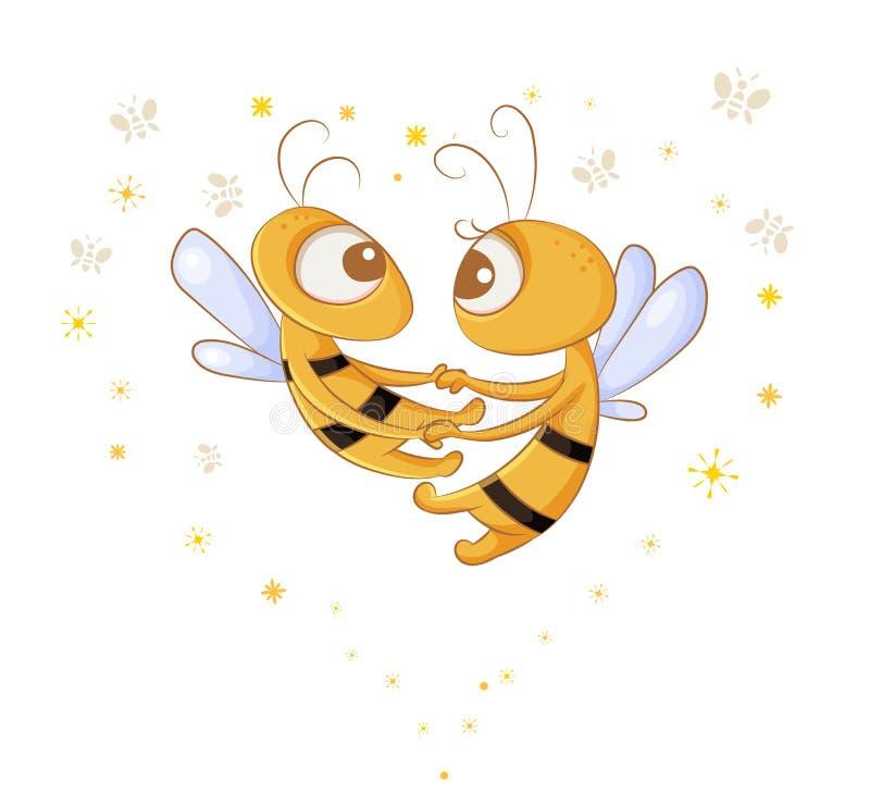 Μέλισσες αγάπης διανυσματική απεικόνιση