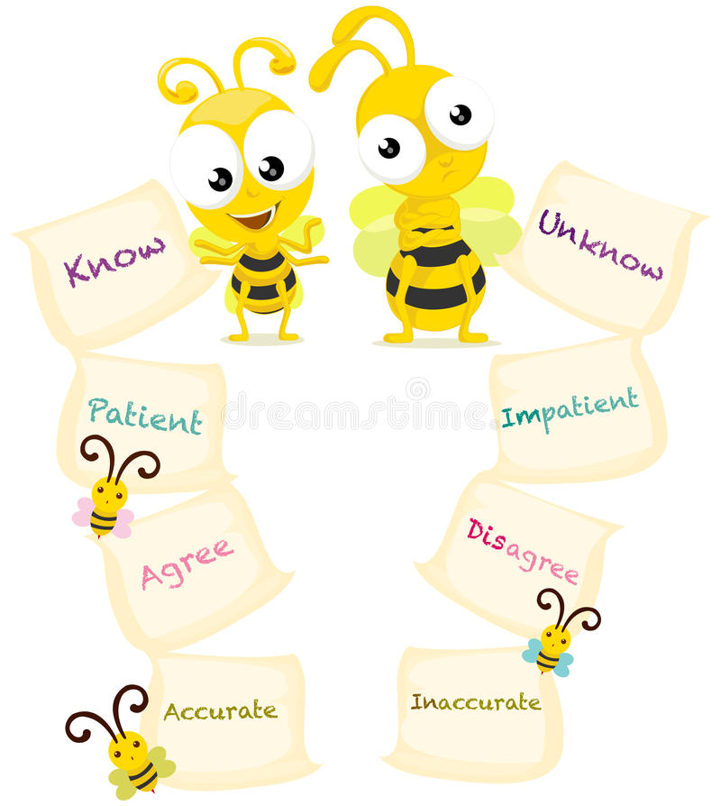 Μέλισσες κινούμενων σχεδίων με τις αντίθετες λέξεις διανυσματική απεικόνιση