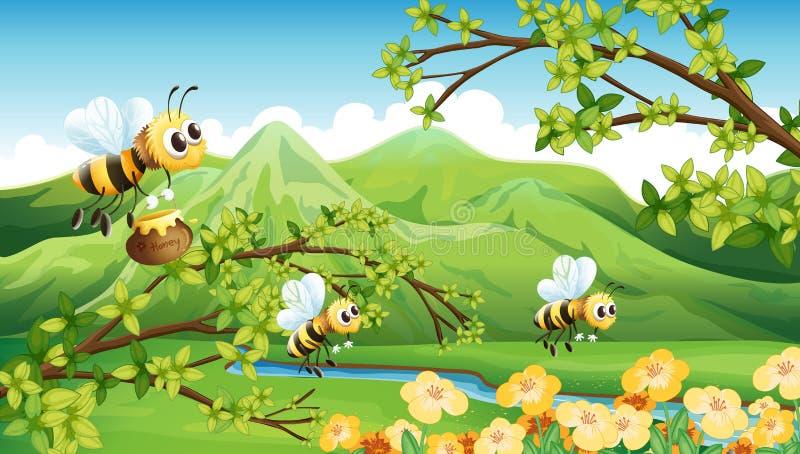 Μέλισσες κοντά στο βουνό διανυσματική απεικόνιση