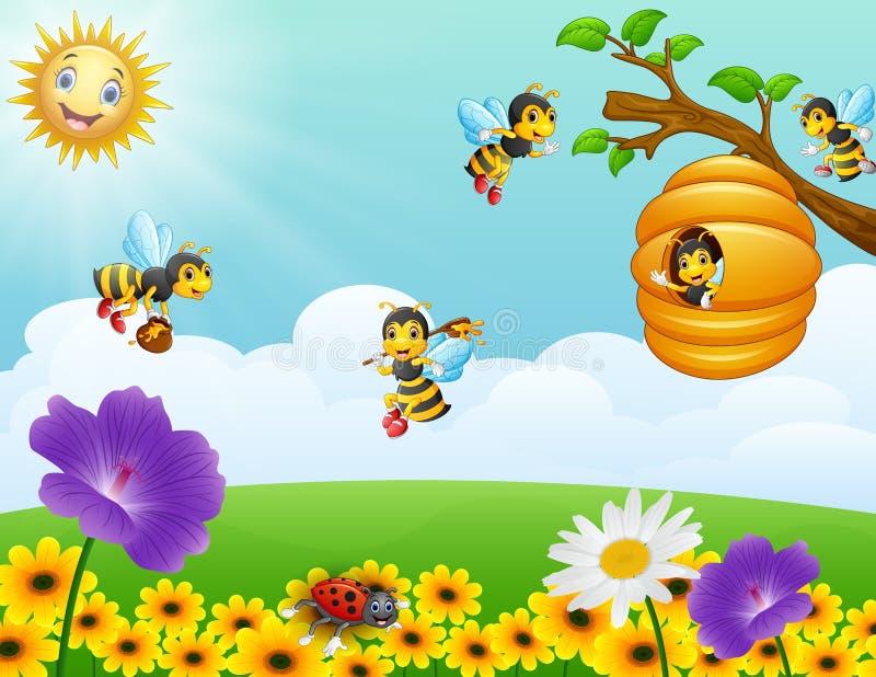 Μέλισσες που πετούν γύρω από την κυψέλη στον κήπο διανυσματική απεικόνιση