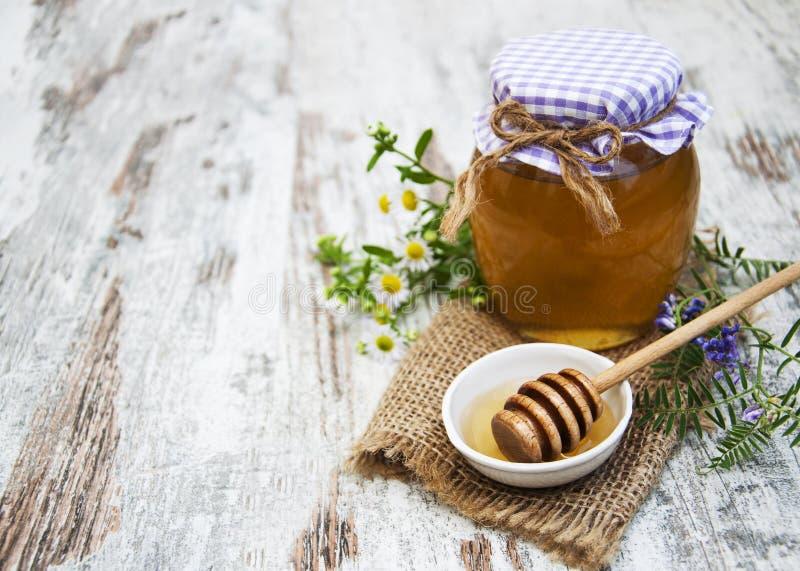 Μέλι και άγρια λουλούδια στοκ εικόνα