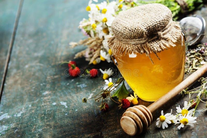 Μέλι και βοτανικό τσάι στοκ φωτογραφίες με δικαίωμα ελεύθερης χρήσης