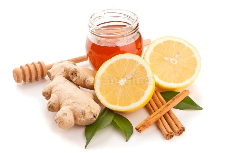 Μέλι, κανέλα, πιπερόριζα και λεμόνι στοκ εικόνα με δικαίωμα ελεύθερης χρήσης