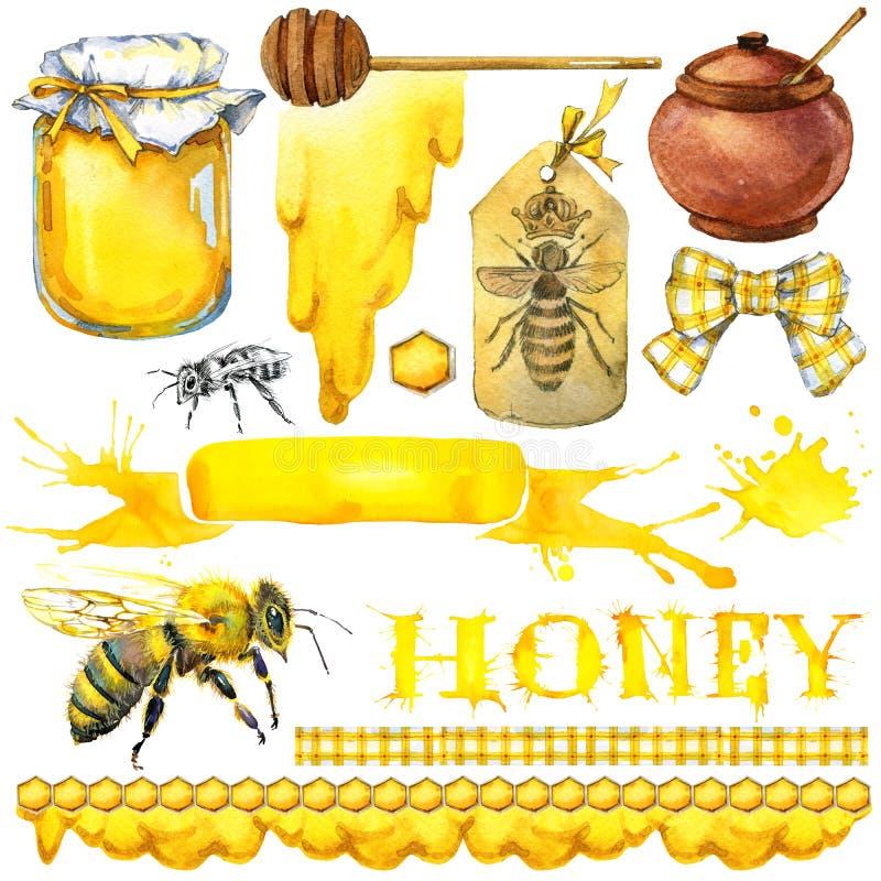 Μέλι, κηρήθρα, μέλισσα μελιού Σύνολο για τα προϊόντα ετικετών σχεδίου από το μέλι η διακοσμητική εικόνα απεικόνισης πετάγματος ρα διανυσματική απεικόνιση
