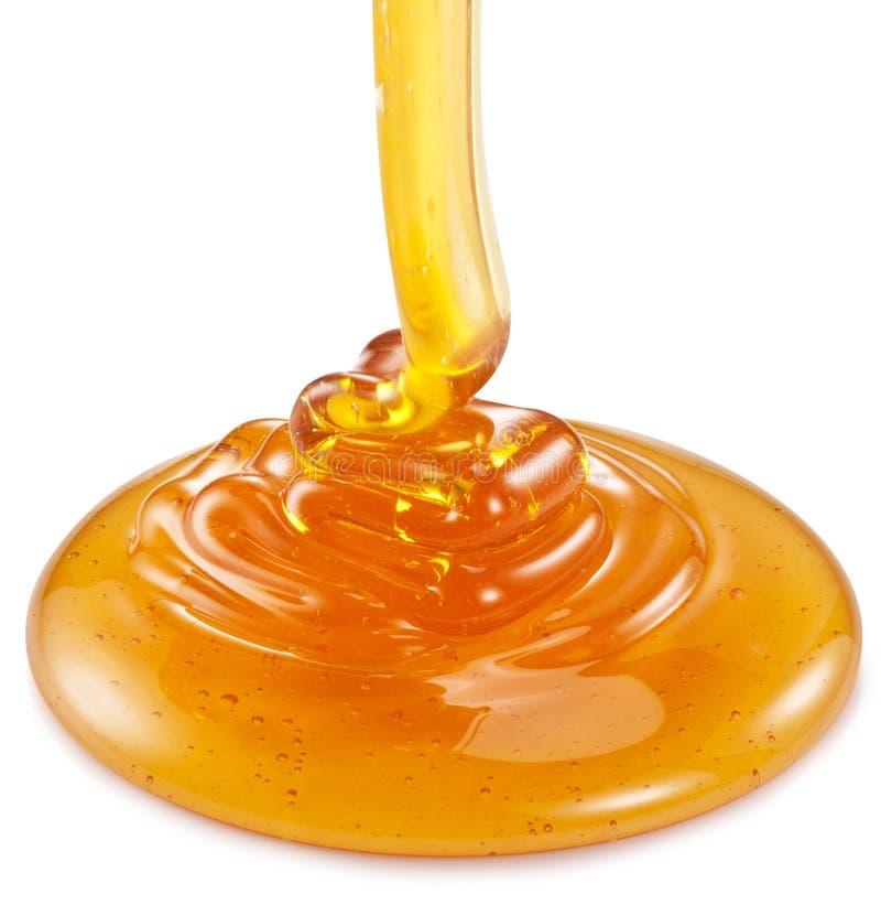 Μέλι που ρέει στο άσπρο υπόβαθρο στοκ φωτογραφίες με δικαίωμα ελεύθερης χρήσης