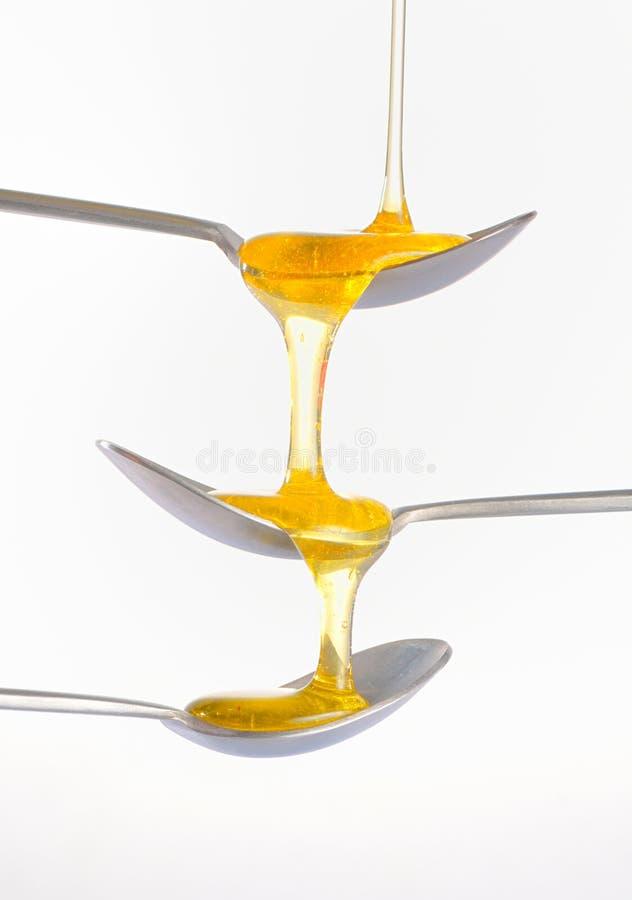 Μέλι που στάζει πάνω από τρία ασημένιο teaspoonful στοκ φωτογραφία με δικαίωμα ελεύθερης χρήσης