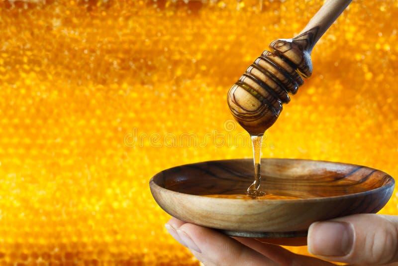 Μέλι που στάζει στο κυψελωτό υπόβαθρο στοκ εικόνες