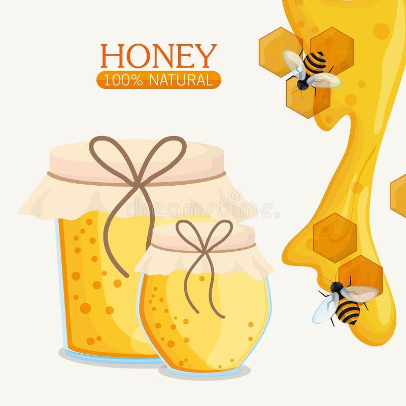 Μέλι υγιές και σχέδιο οργανικής τροφής διανυσματική απεικόνιση