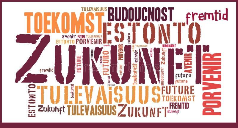 Μέλλον σύννεφων λέξης στις διαφορετικές γλώσσες στοκ εικόνα