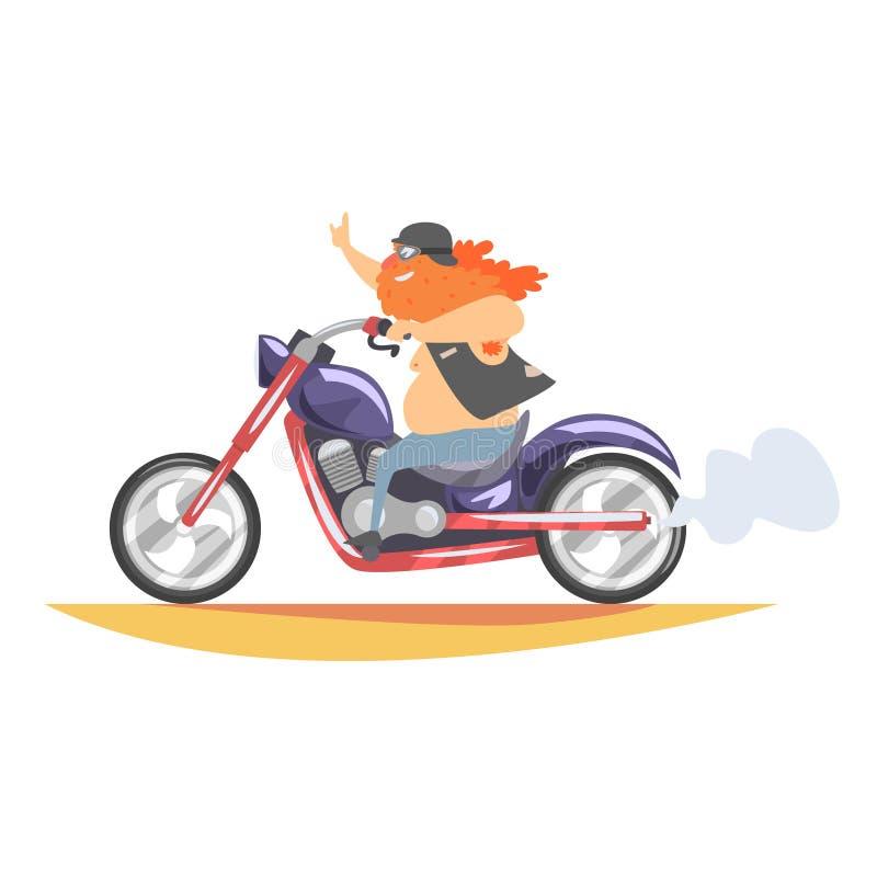 Μέλος λεσχών ποδηλατών εκτός νόμου με τη μακριά γενειάδα που οδηγά το γρήγορο βαρύ μπαλτά στη φανέλλα δέρματος απεικόνιση αποθεμάτων