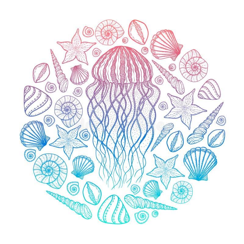 Μέδουσα και κοχύλια στο ύφος τέχνης γραμμών Συρμένη χέρι διανυσματική απεικόνιση Σχέδιο για το χρωματισμό του βιβλίου Σύνολο ωκεά απεικόνιση αποθεμάτων