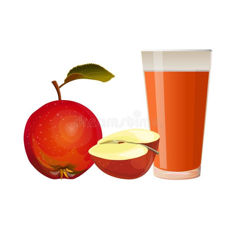 Μήλα και ποτήρι του χυμού διανυσματική απεικόνιση