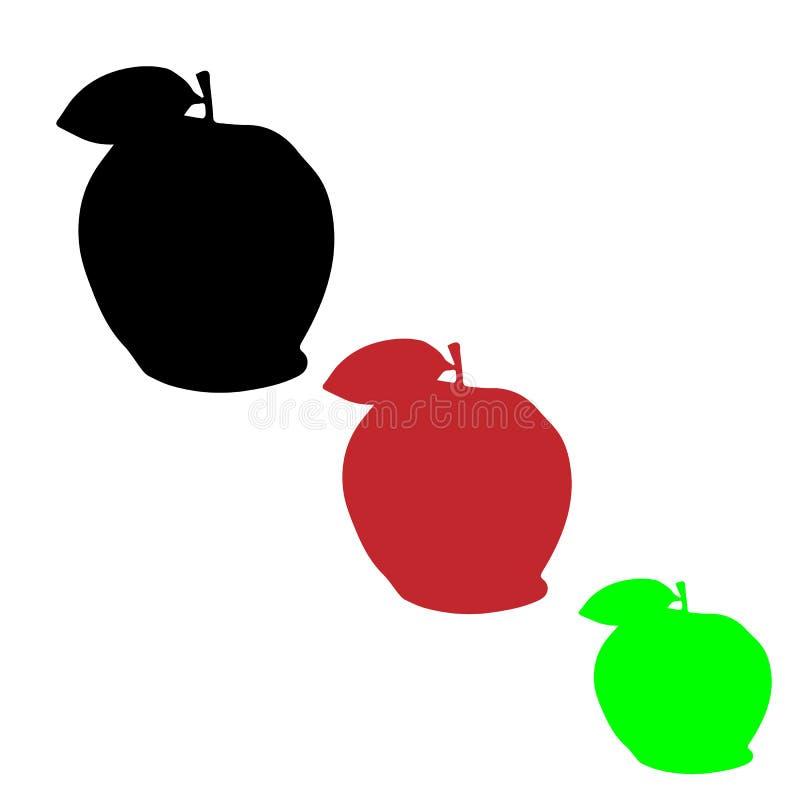 μήλα τρία Ο Μαύρος, πράσινος και κόκκινος στοκ εικόνα με δικαίωμα ελεύθερης χρήσης