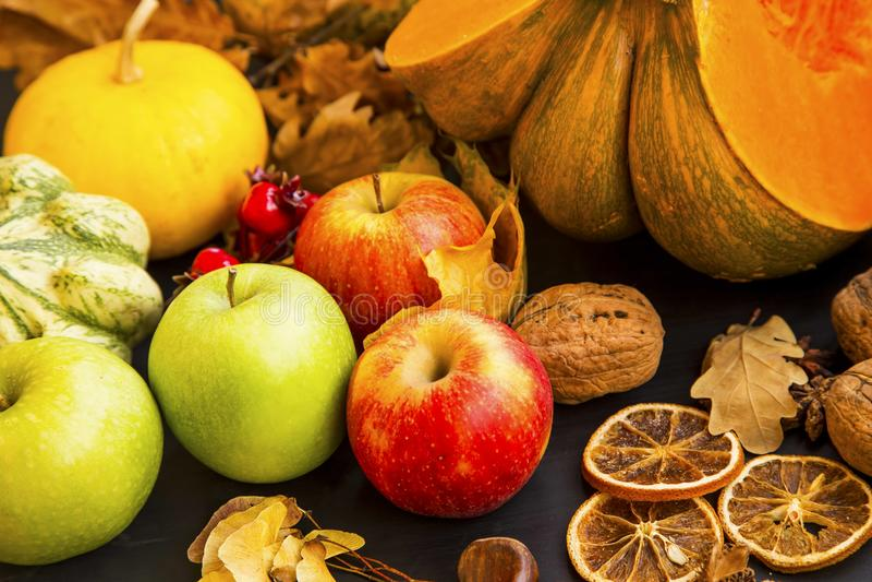 Μήλα φθινοπώρου, φρούτα πτώσης που συγκομίζουν με τις κολοκύθες, καρύδια και SP στοκ εικόνες