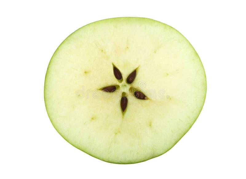 μήλο πέντε πράσινοι μισοί σπό στοκ εικόνες