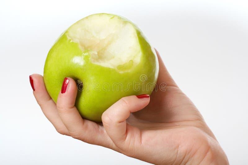 μήλο που δαγκώνεται στοκ εικόνα