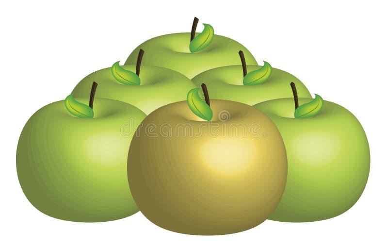 μήλο χρυσό διανυσματική απεικόνιση