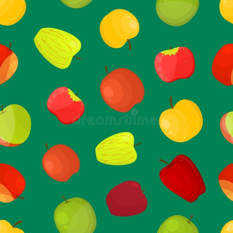 Μήλων διαφορετικό υπόβαθρο σχεδίων ποικιλιών άνευ ραφής διάνυσμα απεικόνιση αποθεμάτων