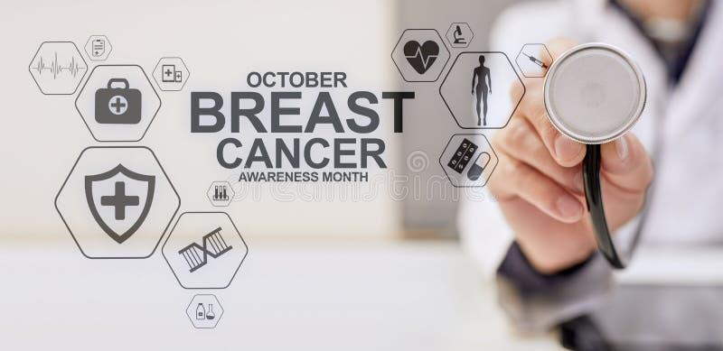 Μήνας Οκτώβριος συνειδητοποίησης καρκίνου του μαστού Ιατρική και έννοια υγειονομικής περίθαλψης στην οθόνη στοκ φωτογραφία