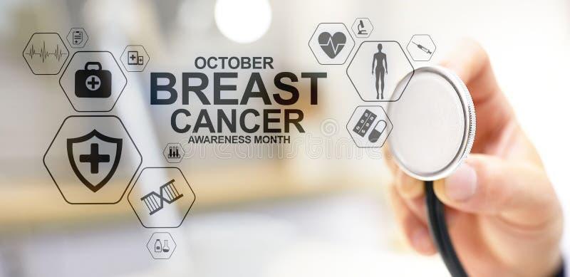 Μήνας Οκτώβριος συνειδητοποίησης καρκίνου του μαστού Ιατρική και έννοια υγειονομικής περίθαλψης στην οθόνη στοκ εικόνα με δικαίωμα ελεύθερης χρήσης
