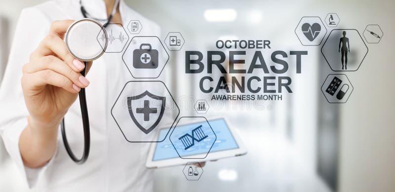 Μήνας Οκτώβριος συνειδητοποίησης καρκίνου του μαστού Ιατρική και έννοια υγειονομικής περίθαλψης στην οθόνη στοκ φωτογραφία με δικαίωμα ελεύθερης χρήσης