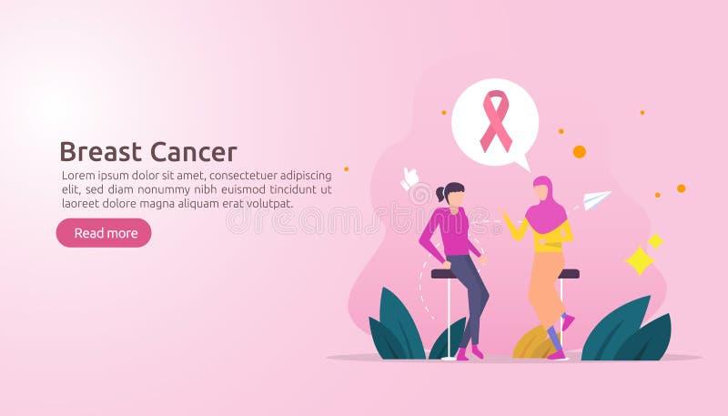 μήνας συνειδητοποίησης ημέρας καρκίνου του μαστού με τη ρόδινη κορδέλλα θηλυκή συζήτηση συζήτησης χαρακτήρα κινουμένων σχεδίων μα διανυσματική απεικόνιση
