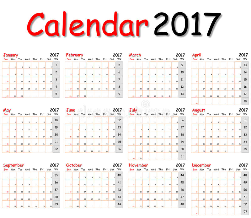 12 μήνες του ημερολογίου 2017 στοκ φωτογραφία