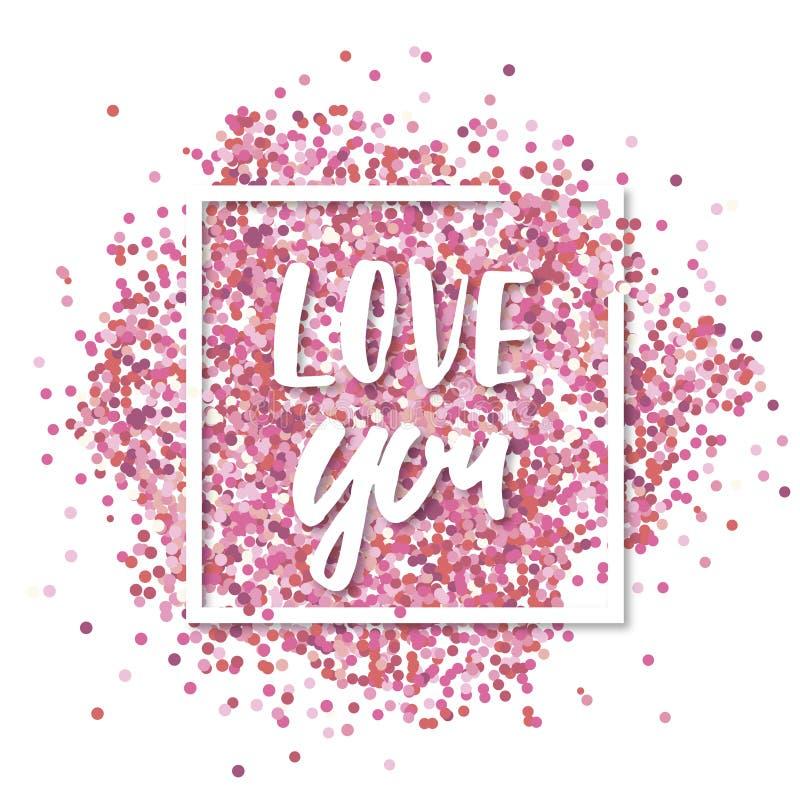 μήνυμα αγάπης εσείς Ρόδινο κομφετί μέσα στο άσπρο τετραγωνικό πλαίσιο Ρομαντικό υπόβαθρο βαλεντίνων ελεύθερη απεικόνιση δικαιώματος