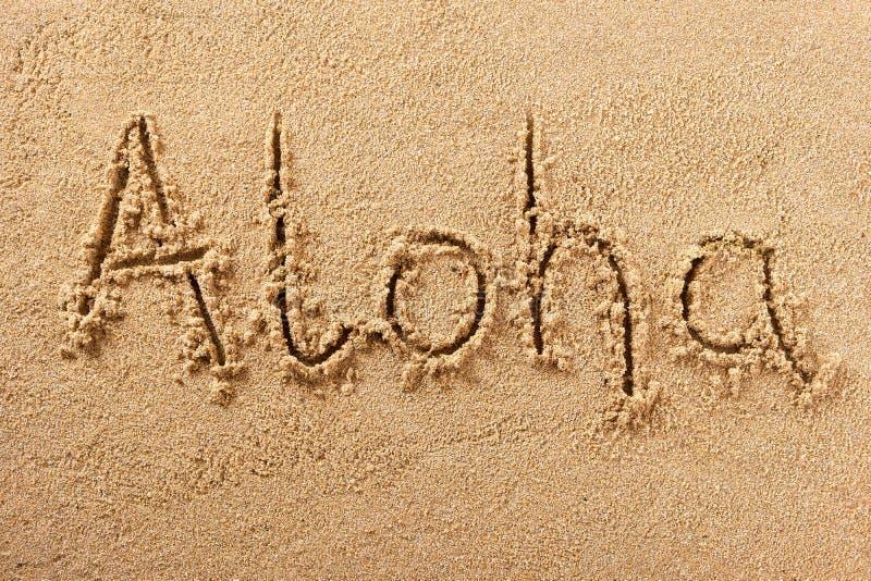 Μήνυμα γραψίματος θερινών παραλιών της Χαβάης Aloha στοκ εικόνα με δικαίωμα ελεύθερης χρήσης