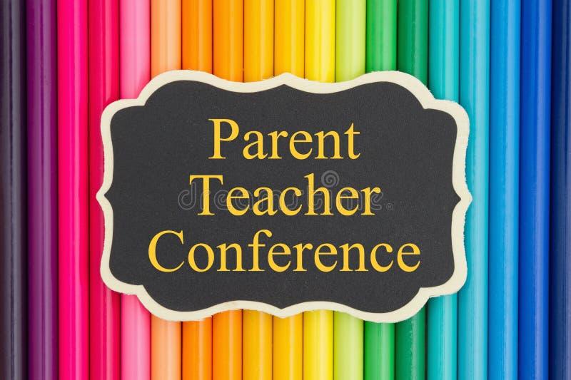Μήνυμα διασκέψεων δασκάλων γονέα στον πίνακα κιμωλίας διανυσματική απεικόνιση