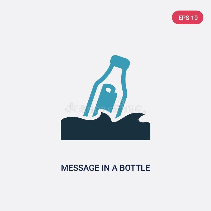 Μήνυμα δύο χρώματος σε ένα διανυσματικό εικονίδιο μπουκαλιών από τη ναυτική έννοια το απομονωμένο μπλε μήνυμα σε ένα διανυσματικό διανυσματική απεικόνιση