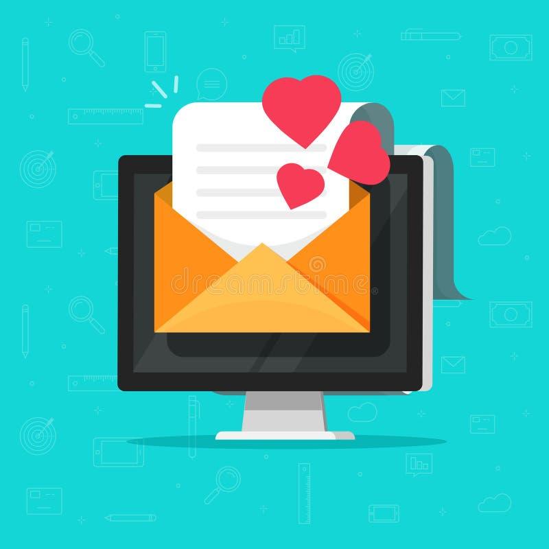 Μήνυμα ηλεκτρονικού ταχυδρομείου αγάπης στη διανυσματική απεικόνιση υπολογιστών, επίπεδη επιστολή ηλεκτρονικού ταχυδρομείου κινού διανυσματική απεικόνιση