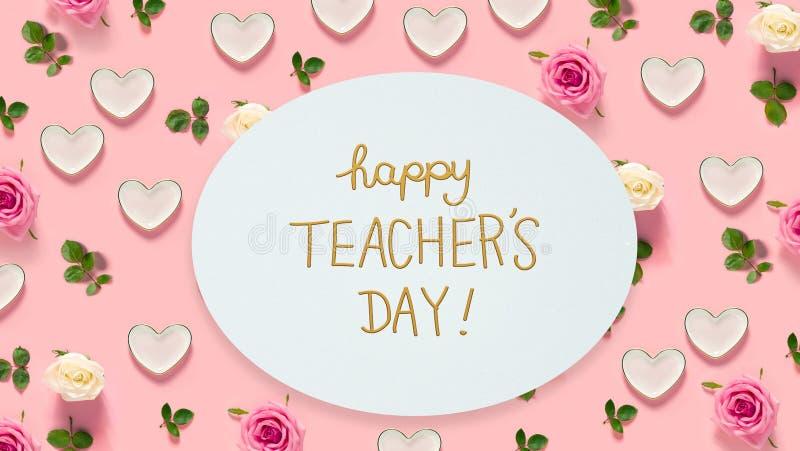 Μήνυμα ημέρας δασκάλου με τα τριαντάφυλλα και τις καρδιές ελεύθερη απεικόνιση δικαιώματος