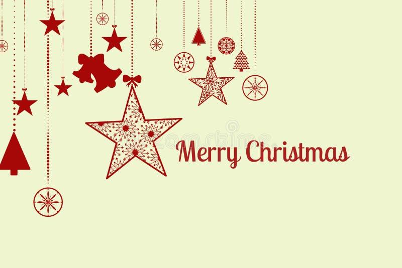 Μήνυμα και διακόσμηση Χριστουγέννων στο άσπρο σχέδιο απεικόνιση αποθεμάτων