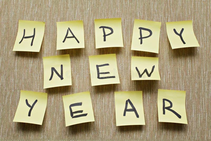 Μήνυμα καλής χρονιάς στην αυτοκόλλητη ετικέττα στοκ φωτογραφία