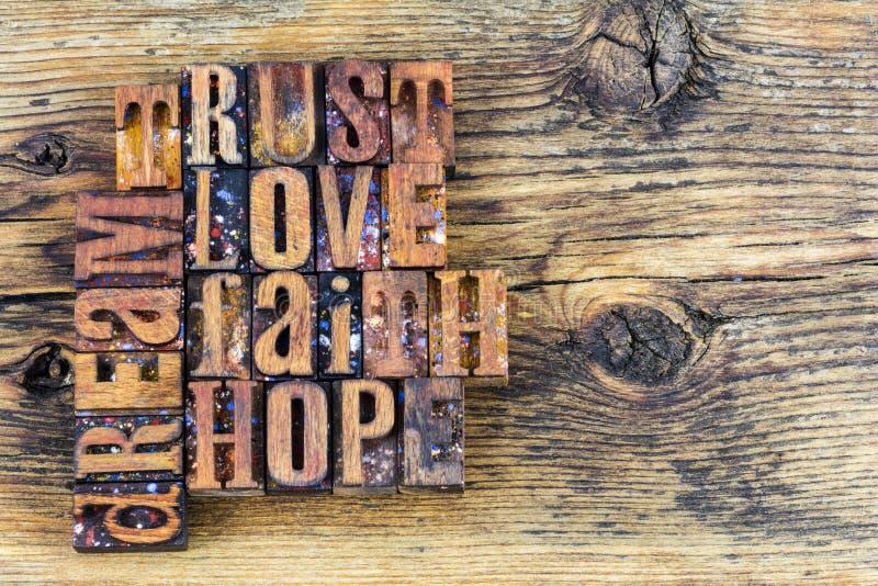 Μήνυμα ονείρου ελπίδας πίστης αγάπης εμπιστοσύνης στοκ εικόνες