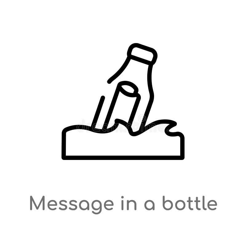 μήνυμα περιλήψεων σε ένα διανυσματικό εικονίδιο μπουκαλιών απομονωμένη μαύρη απλή απεικόνιση στοιχείων γραμμών από τη ναυτική ένν διανυσματική απεικόνιση