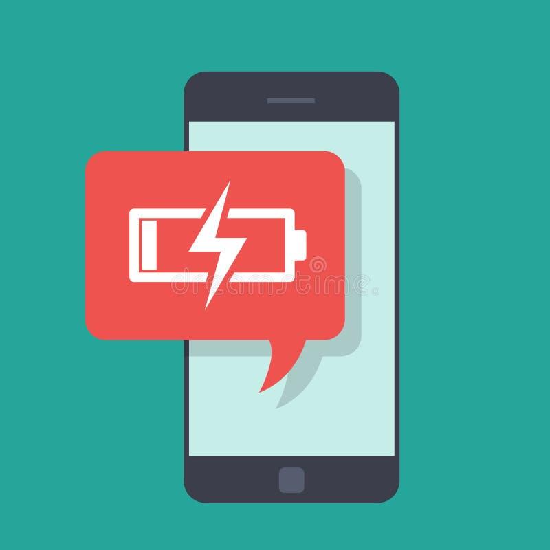 Μήνυμα στο κινητό τηλέφωνο για τη χαμηλή δαπάνη μπαταριών Λίγη ενέργεια Χαμηλής τιμής στο κινητό τηλέφωνο Πρέπει να χρεώσετε απεικόνιση αποθεμάτων