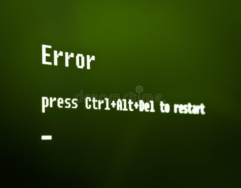 Μήνυμα σφάλματος υπολογιστών στοκ φωτογραφίες