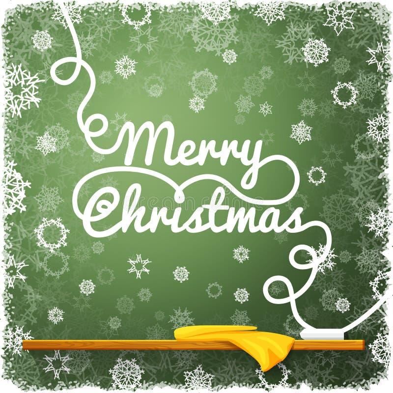 Μήνυμα Χαρούμενα Χριστούγεννας, που γράφεται στο πράσινο απεικόνιση αποθεμάτων